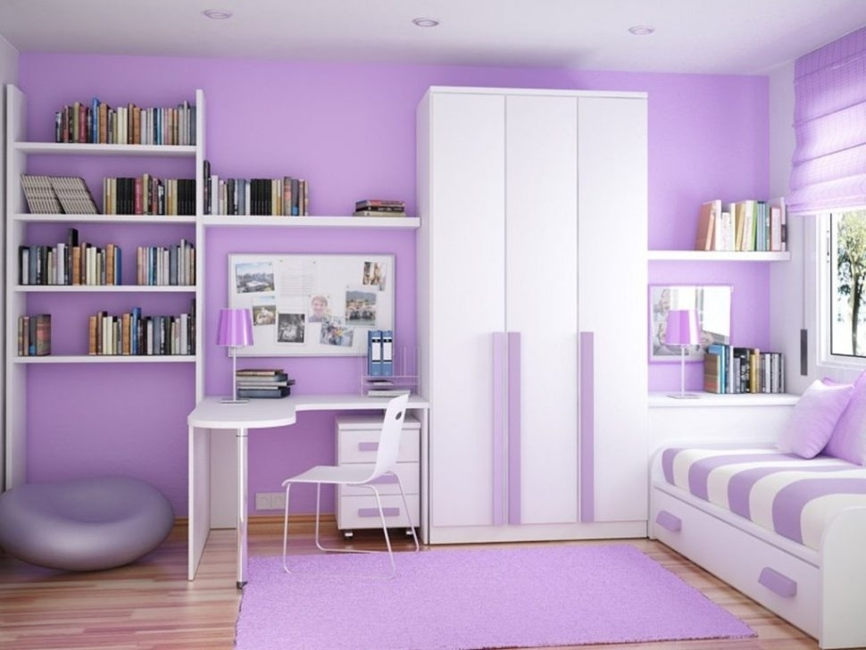 habitación de niña morado lila lavanda